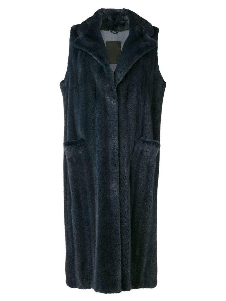Liska sleeveless long coat - Blue