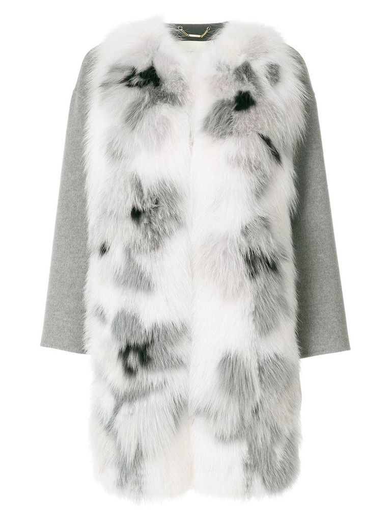 Fendi appliqué coat - Grey