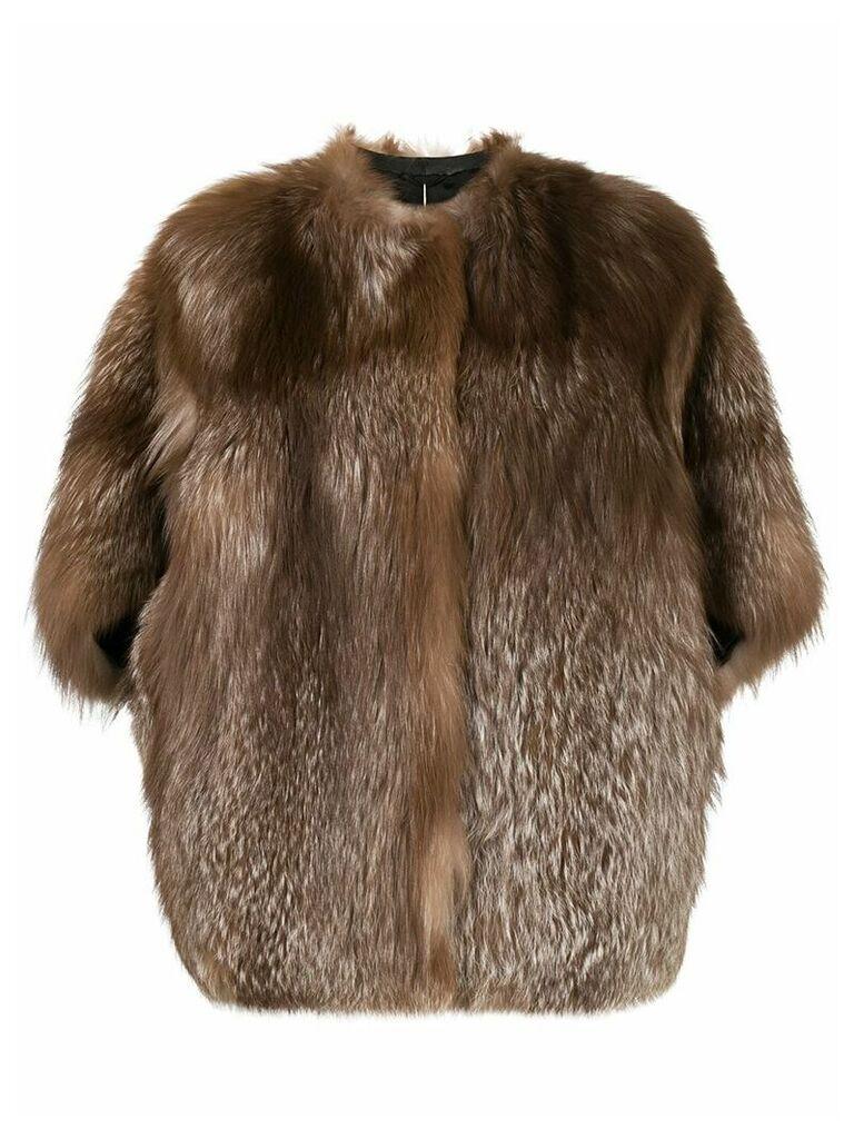 Liska shortsleeved fur coat - Brown