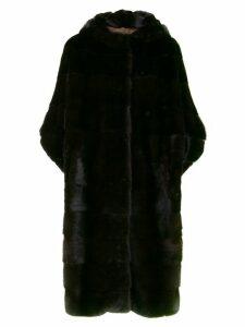 Liska cropped sleeves fur coat - Brown