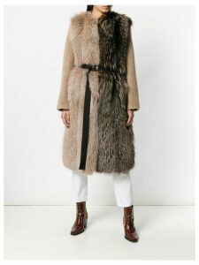 Blancha contrast colour belted coat - Neutrals
