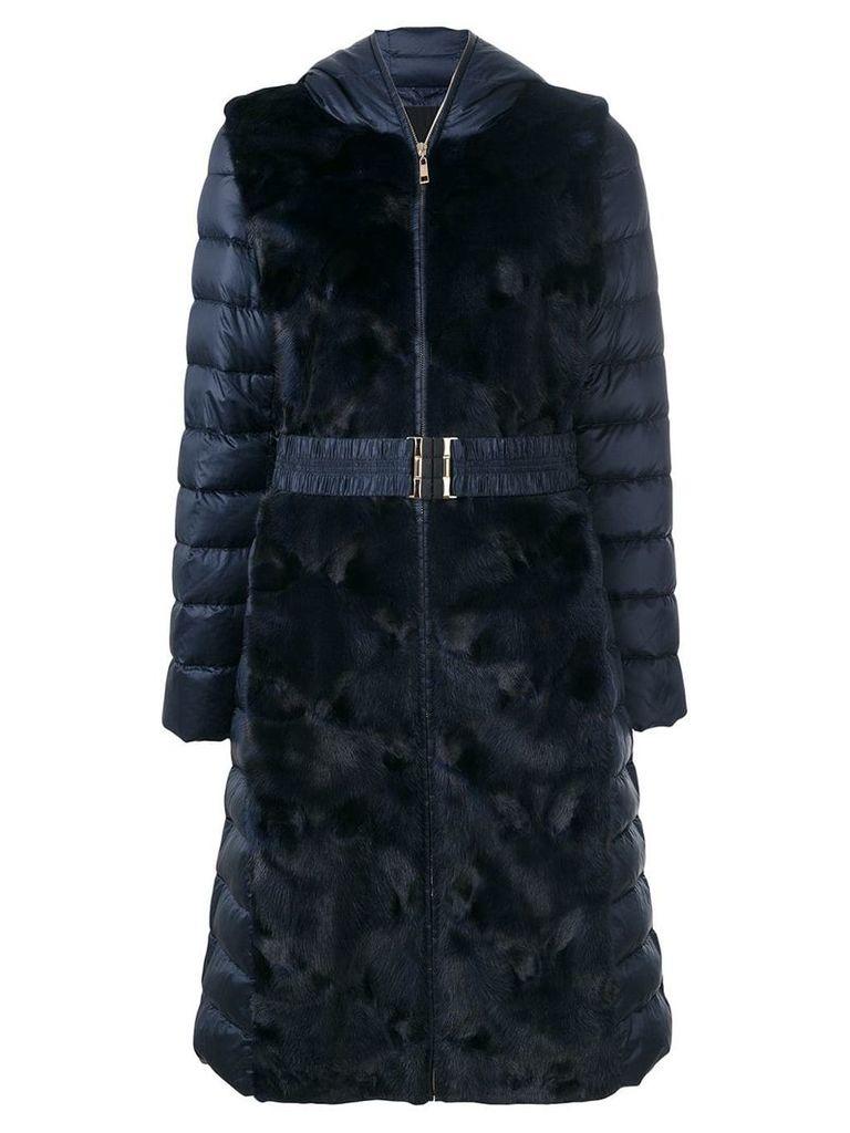 Liska fur trim padded coat - Blue