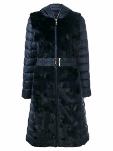 Liska fur trim padded coat - Blue