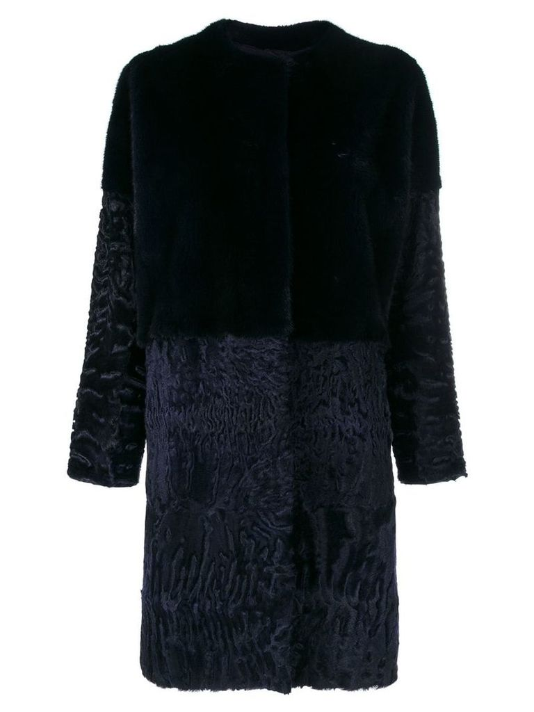 Liska mid-length fur coat - Blue
