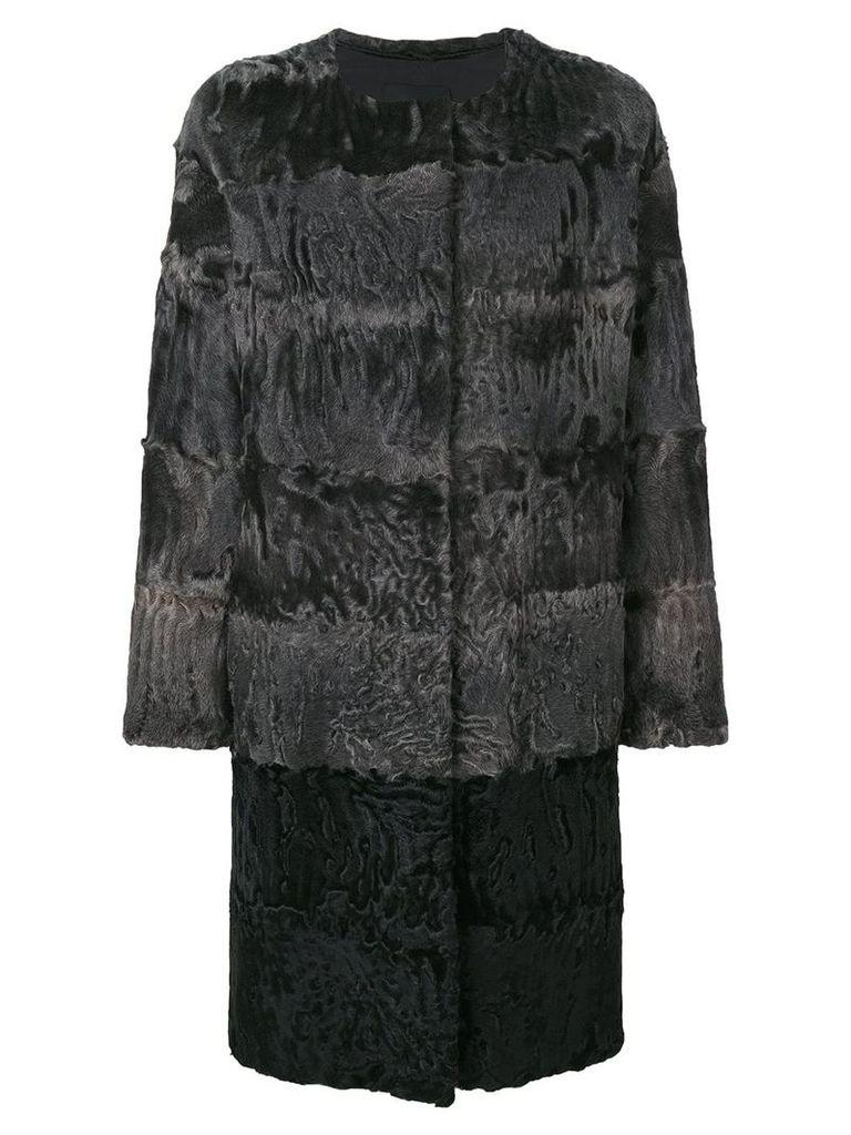 Liska fur detail coat - Grey