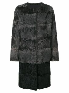 Liska fur detail coat - Grey