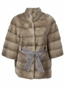 Liska belted mink fur coat - Brown