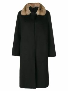 Liska contrast collar coat - Black