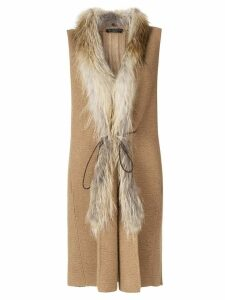 Fabiana Filippi fur-trim gilet coat - Brown