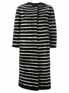 Liska striped mink fur coat - Black