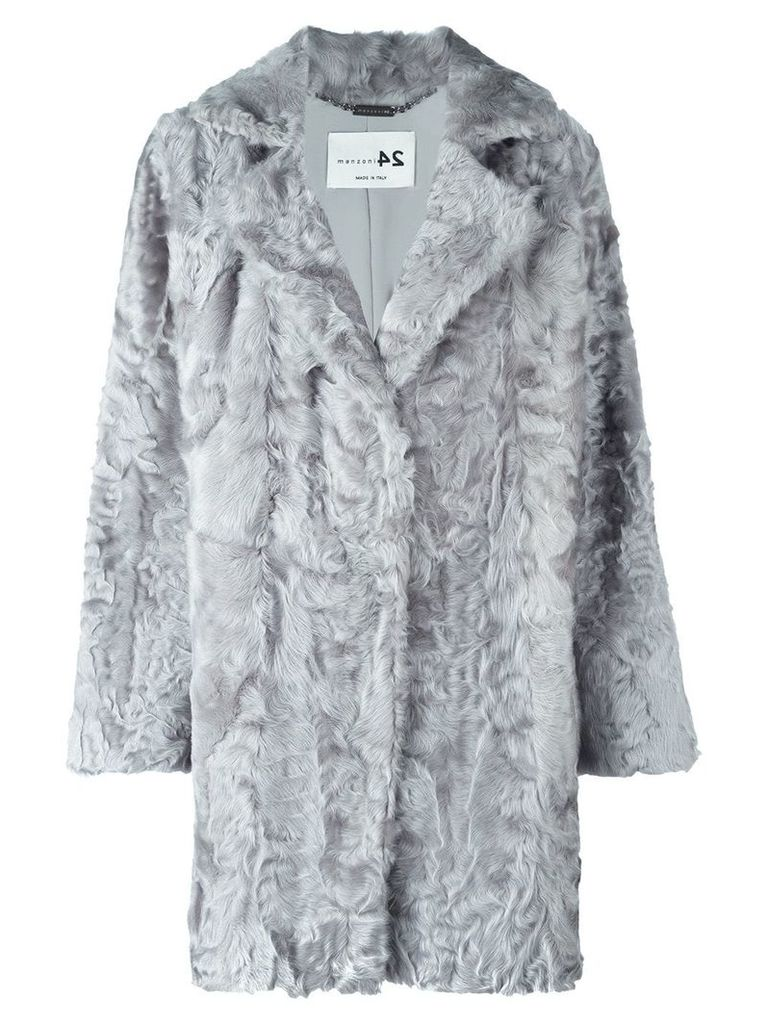 Manzoni 24 notch collar fur coat - Grey