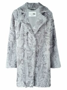 Manzoni 24 notch collar fur coat - Grey