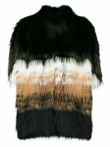 Liska stripe panel fur coat - Black