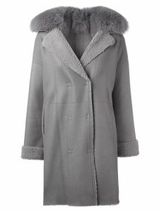 Guy Laroche Pre-Owned fur collar coat - Grey