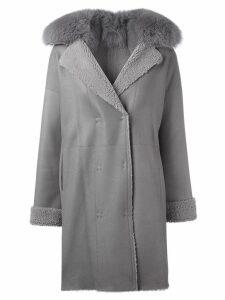 Guy Laroche Pre-Owned fur collar coat - Grey