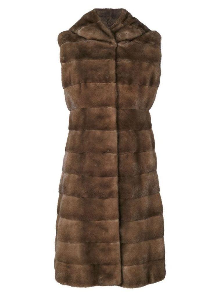 Liska fur detail coat - Brown