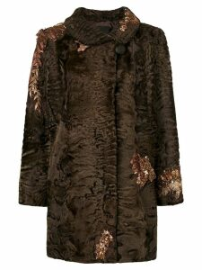 Liska sequin embroidery coat - Brown