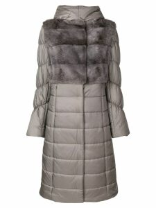 Liska fur trim padded coat - Grey