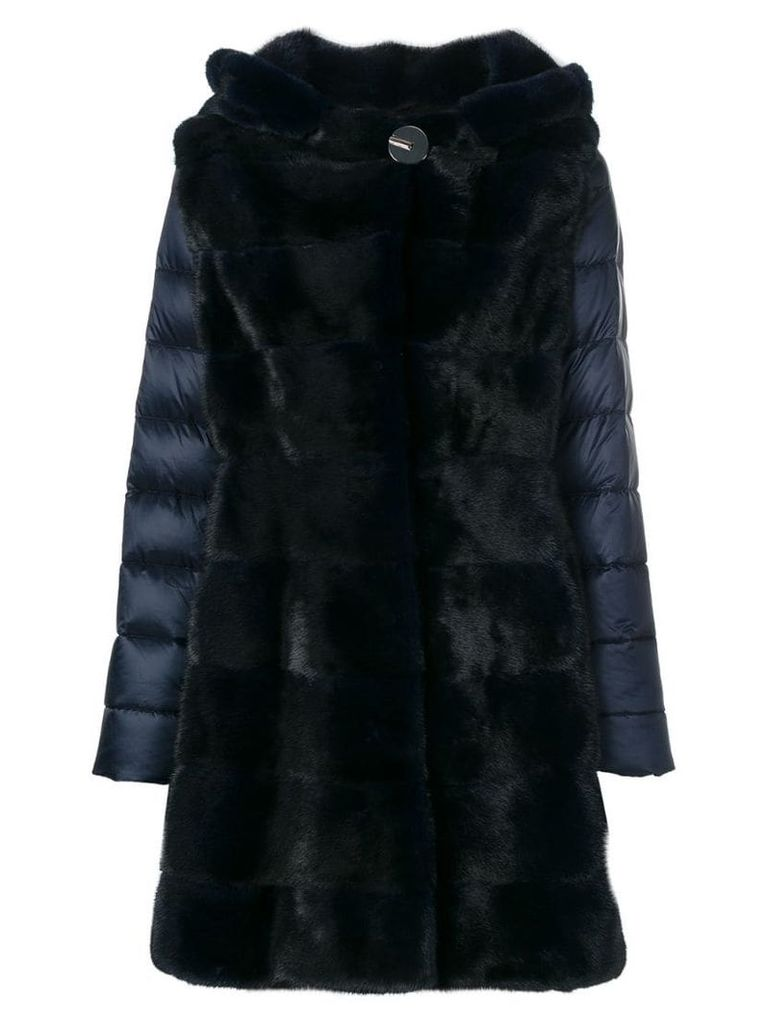 Liska fur detail padded coat - Blue