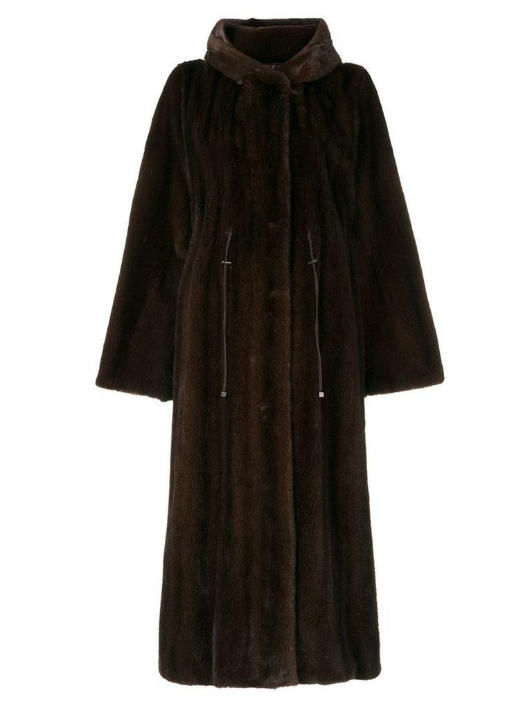 Liska hooded fur coat - Brown
