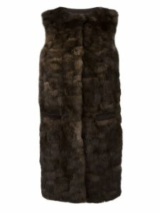 Liska 'Malvai' sleeveless fur coat - Brown