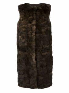 Liska 'Malvai' sleeveless fur coat - Brown
