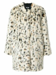 MSGM leopard print coat - White