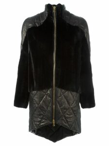 Liska panelled zipped coat - Black