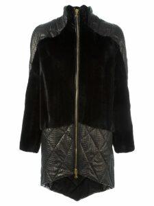 Liska panelled zipped coat - Black