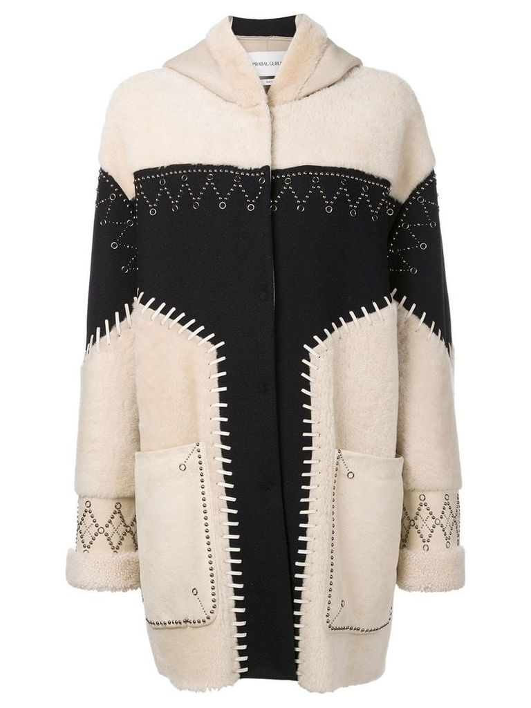Prabal Gurung studded shearling coat - Neutrals