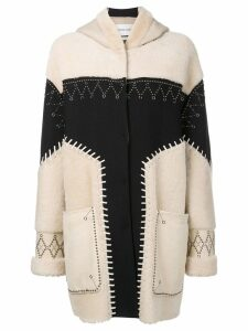 Prabal Gurung studded shearling coat - Neutrals