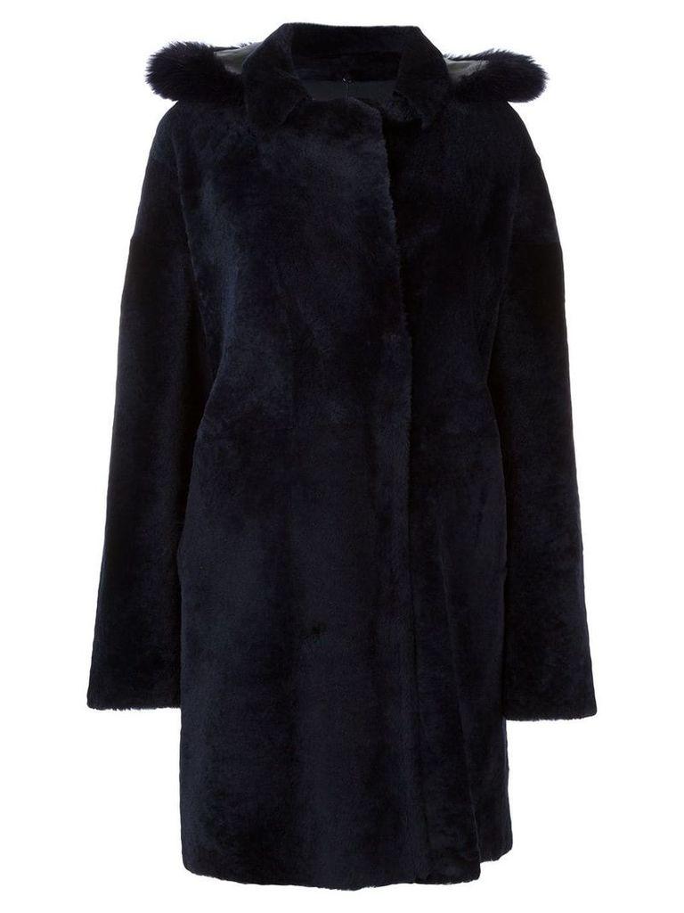Guy Laroche double breasted fur coat - Blue
