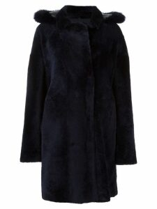 Guy Laroche double breasted fur coat - Blue