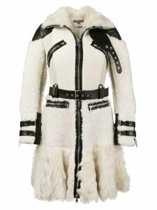 Alexander McQueen Buffalo leather trimmed biker coat - Neutrals