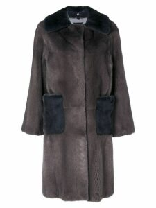 Liska two-tone oversized coat - Grey