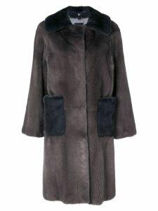 Liska two-tone oversized coat - Grey