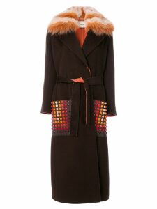 Fendi single breasted coat - Brown