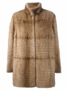 Liska cashmere stand up collar coat - NEUTRALS