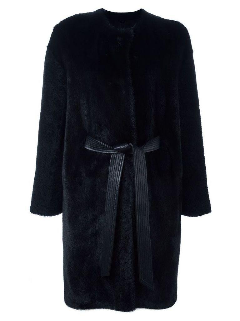 Liska belted fur coat - Blue