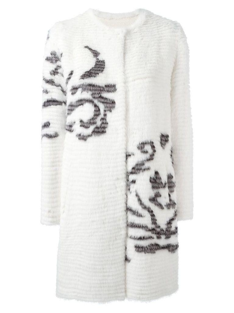 Liska single breasted shearling coat - White