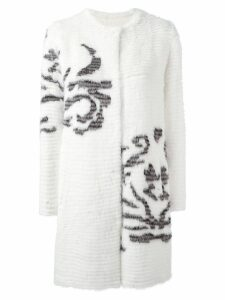 Liska single breasted shearling coat - White