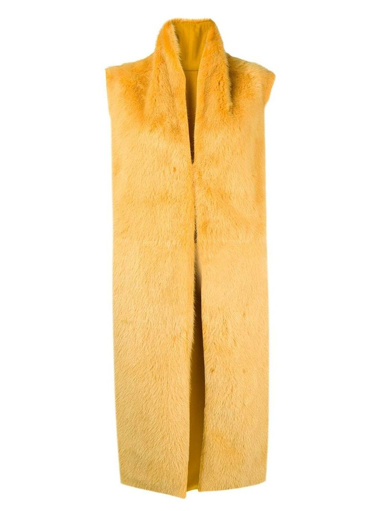 Liska sleeveless fur coat - Yellow