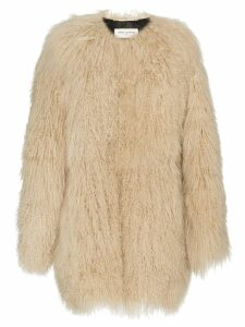 Saint Laurent oversized Mongolian lamb fur coat - Neutrals
