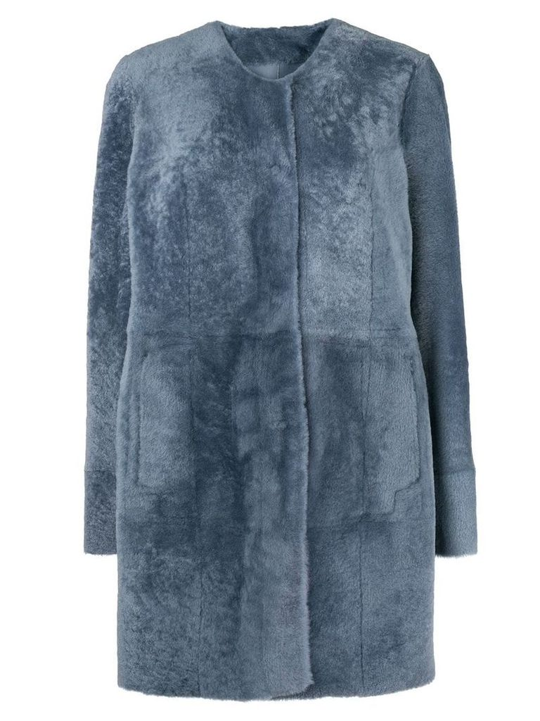 Drome press stud fur coat - Blue