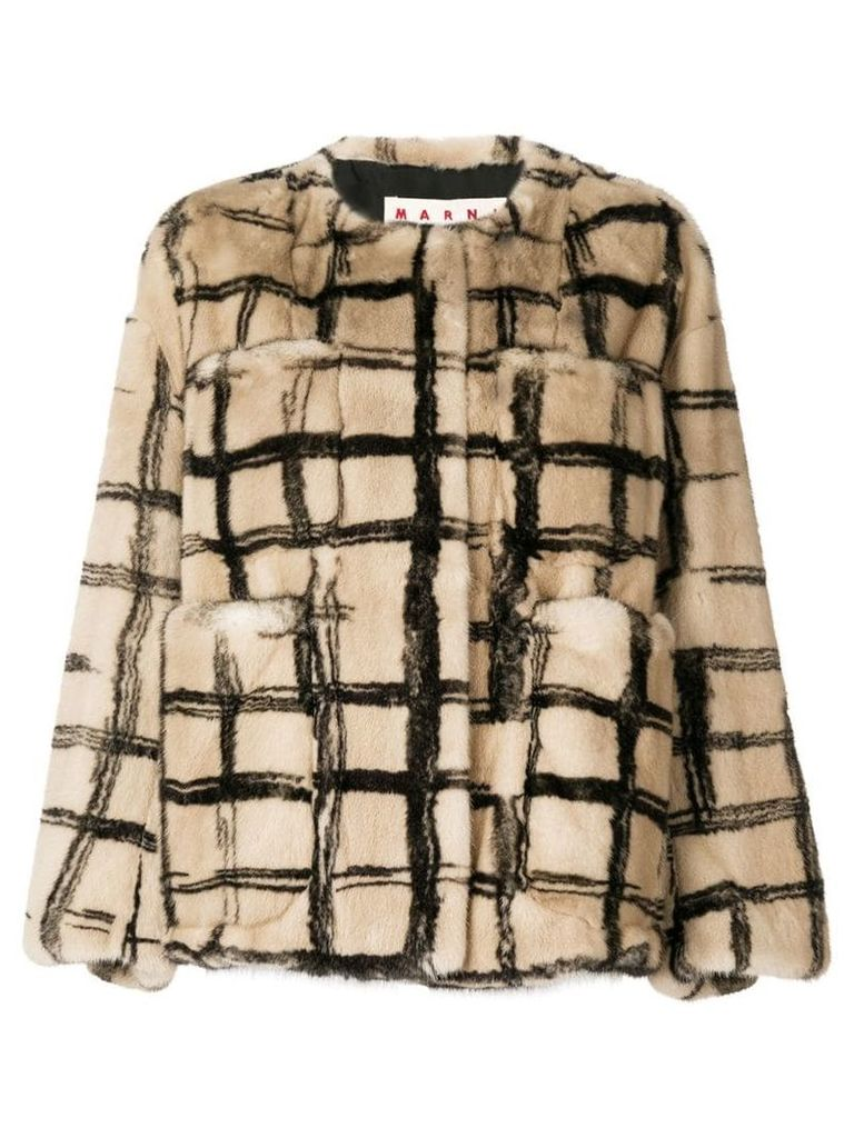 Marni checked print coat - Neutrals