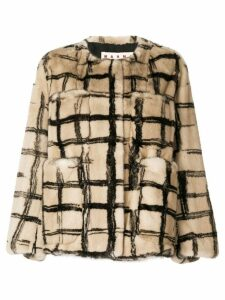 Marni checked print coat - Neutrals