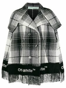 Off-White fringed check print coat - Black