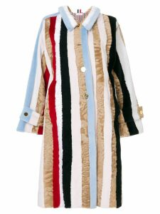 Thom Browne Raglan Sleeve Fur Overcoat - Multicolour