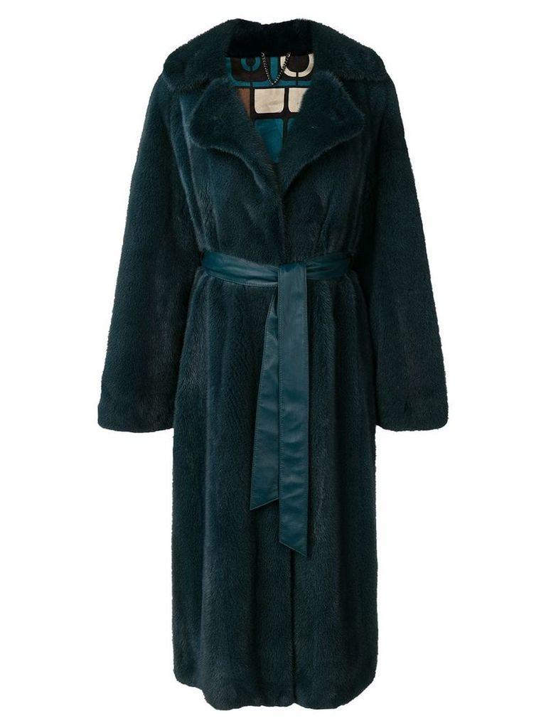 Liska oversized fur coat - Blue
