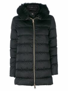 Herno fur trim hooded coat - Black